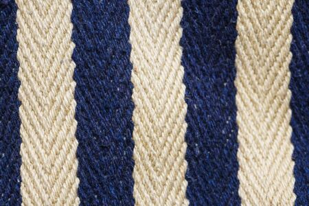 Herringbone tweed background with close up on fabric texture. Striped blue and white material Archivio Fotografico