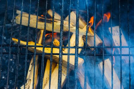 The grid of a grill gets warm on coals. Barbecue background with empty space