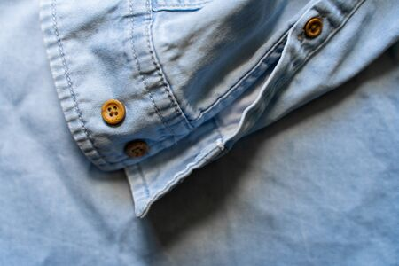 Blue Casual Brown Shirt With Brown Buttons