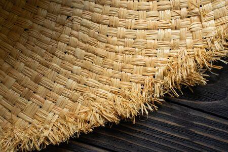Straw Hat Texture. Wicker Empty Background Banco de Imagens