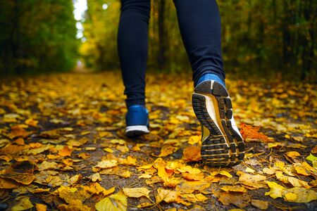 Jogger's feet in blue sneakers close up. A woman athlete run in the autumn forest. Jogging in an amazing autumn forest strewn with fallen leaves 版權商用圖片 - 132620894