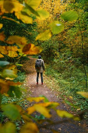 A man with backpack walks in the amazing autumn forest. Hiking alone along autumn forest paths. Travel concept. 版權商用圖片 - 132621726