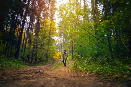 A man with backpack walks in the amazing autumn forest. Hiking alone along autumn forest paths. Travel concept. 版權商用圖片 - 132622706