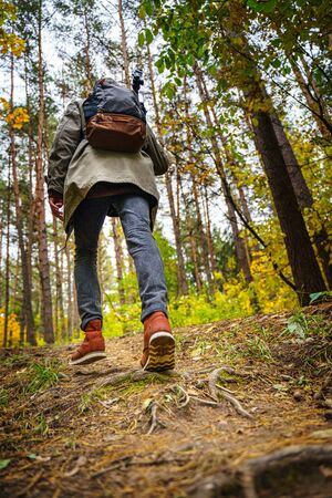 Nature photographer with a tripod on his shoulder and backpack climbs the slopein the amazing autumn forest. Hiking alone along autumn forest paths. Travel concept. 版權商用圖片 - 132622914