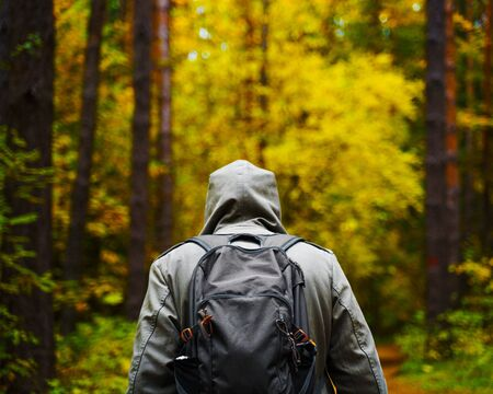 A man with backpack walks in the amazing autumn forest. Hiking alone along autumn forest paths. Travel concept. 版權商用圖片 - 132624570