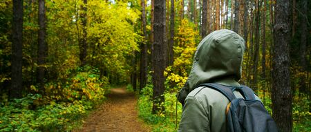 A man with backpack walks in the amazing autumn forest. Hiking alone along autumn forest paths. Travel concept. 版權商用圖片 - 132624789