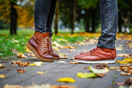 Feet of a couple in love in brown shoes on the path of the autumn park, strewn with fallen leaves. Girl stands on toes. Kiss concept 版權商用圖片 - 132625291