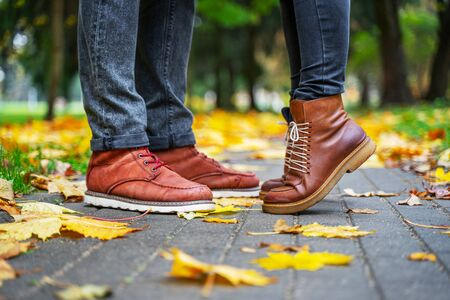 Feet of a couple in love in brown shoes on the path of the autumn park, strewn with fallen leaves. Girl stands on toes. Kiss concept 版權商用圖片 - 132624859