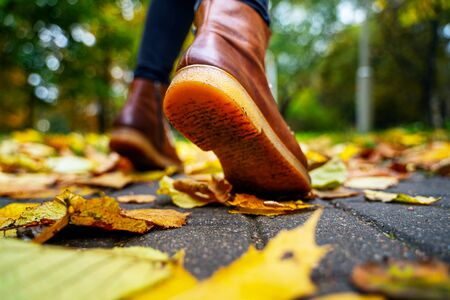 Back view on the feet of a woman in black pants and brown boots walking in a park along the sidewalk strewn with fallen leaves. The concept of turnover seasons. Weather background 版權商用圖片