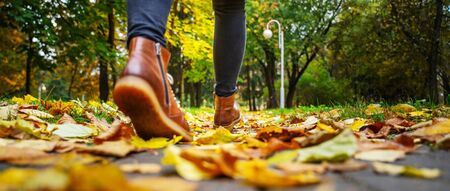 Back view on the feet of a woman in black pants and brown boots walking in a park along the sidewalk strewn with fallen leaves. The concept of turnover seasons. Weather background 版權商用圖片 - 132632830