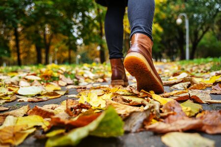 Back view on the feet of a woman in black pants and brown boots walking in a park along the sidewalk strewn with fallen leaves. The concept of turnover seasons. Weather background 版權商用圖片 - 132629970