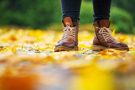 legs of a woman in black pants and brown boots in autumn park on sidewalk strewn with fallen leaves. The concept of turnover seasons. Weather background 版權商用圖片 - 132632258