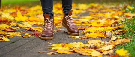 legs of a woman in black pants and brown boots walking in a park along the sidewalk strewn with fallen leaves. The concept of turnover seasons. Weather background 版權商用圖片 - 132630375