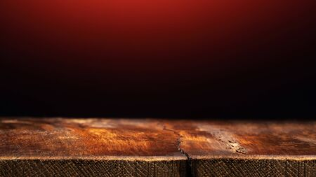 Empty Wooden Table on Dark Red Background. Backdrop for Product Placement