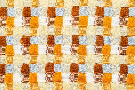 Knitwear Fabric Texture of Blanket with a Complex Square Interweaving