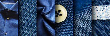 Collage of blue shirt fabric textures. Blue Fabric Set