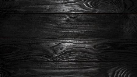 Schwarze Holzstruktur. Schwarzer Plank-Boden-Hintergrund Standard-Bild