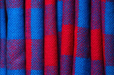 Plaid material. Red and blue cage clothes background Banque d'images - 140391107