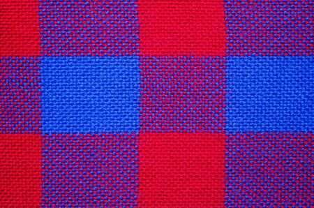 Plaid material. Red and blue cage clothes background Banque d'images - 140391113