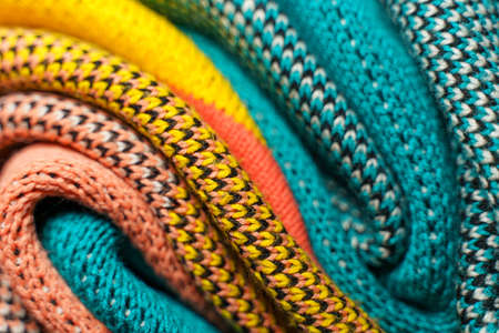 Smooth folded multi colored knitted fabrics