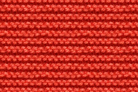 Red Knitwear Fabric Texture. Machine Knitting Texture Macro Snapshot. Knitted Background. 版權商用圖片