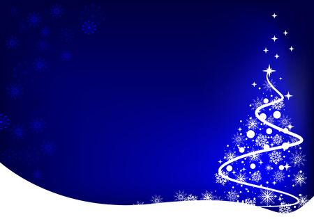 snowdrifts: Christmas tree made of snowflakes on blue background