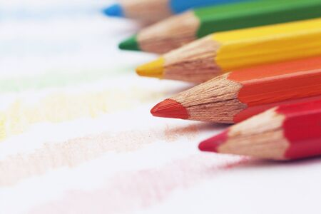 the tips of colored pencils