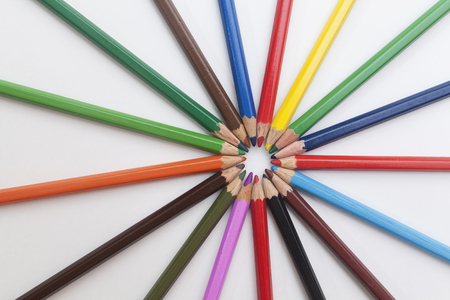 colored pencils in shape of sun