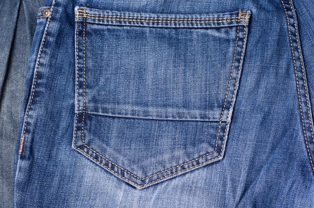 clasps: Jeans close-up. Pocket, seams. Interlacing the fabric with a close-up Stock Photo