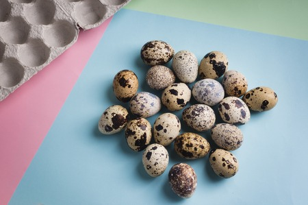 heap of quail eggs on color background. Vegetarian organic  eco food. 스톡 콘텐츠