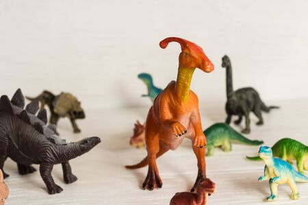 parasavrolophus on the background of other herbivorous dinosaurs