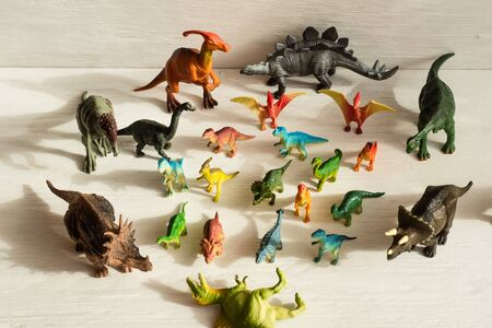 plastic dinosaur figures of extinct ancient creatures and  favorite toys of kids