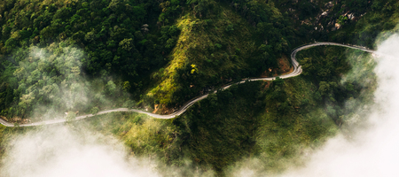 Panorama of nature. The road among tea plantations. The road from the quadcopter. Winding road in the mountains. Landscapes of Sri Lanka. Mountains covered with vegetation. Aerial photography. Map view