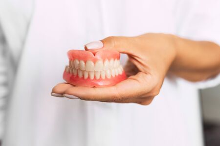 Dental prosthesis in the hands of the doctor close-up. Dentist holding ceramic dental bridge. Front view of complete denture. Dentistry conceptual photo. Prosthetic dentistry. False teeth 스톡 콘텐츠