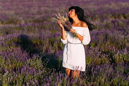 Beautiful girl is among the lavender fields. Beautiful girl at sunset. The girl on the flower field. Woman walking in the lavender fields. A woman collects wild flowers. Lavender fields at sunset