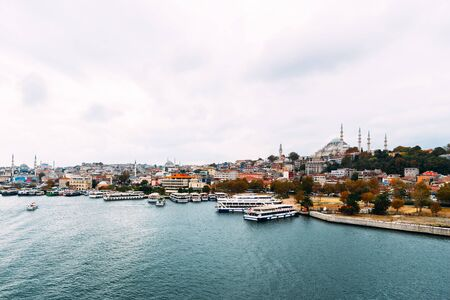 City Istanbul. Istanbul daytime landscape. View of the city. Galata Tower, Galata Bridge, Karakoy district and Golden Horn at daytime. 版權商用圖片