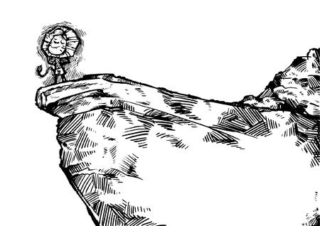 Lion On Cliff Vettoriali