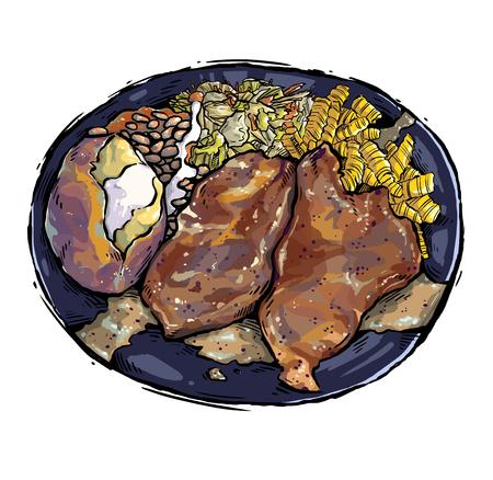 Pork Chop Illustration Stock Photo