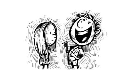 Boy Laughing at Girl Vetores