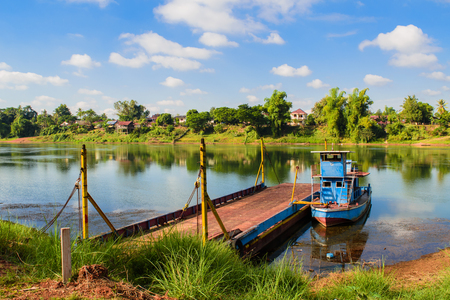 The boat on the river with blue sky Stock Photo