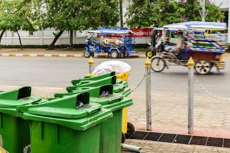 Public bin in Patuxay monument laos Editorial