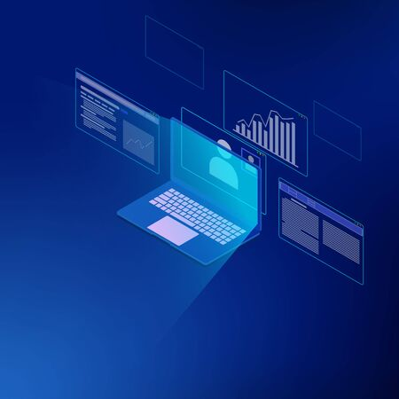 Isometric of business analysis system, management marketing, researching information for business. there are computer, video conference, graph and many pages.