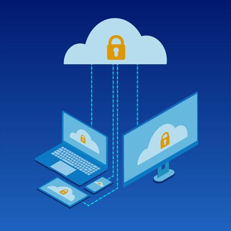 Cloud services Isometric concept design, flat icon, data server, high security  protection cloud service connected with smartphone, tablet and PC.