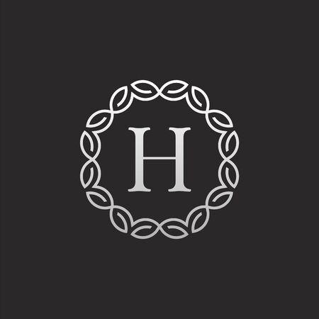 Design del logo con lettera H di lusso