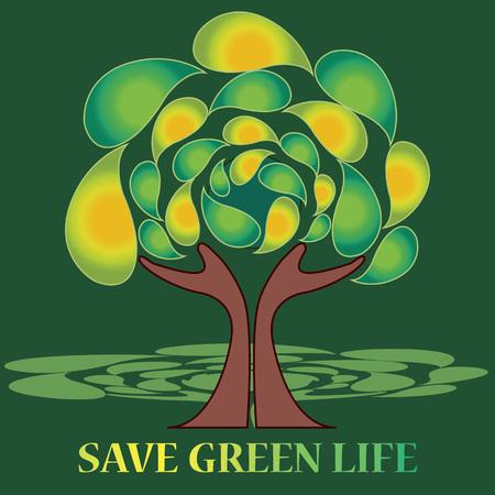 """ser humano: Manos proteger el �rbol con un 'salvar la vida verde """"lema. Cualquier �rbol necesita una protecci�n de cada ser humano y cada ser humano debe conducir hacia ser respetuoso del medio ambiente"""