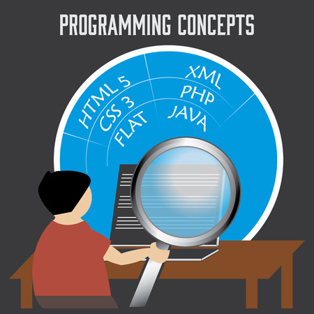html5: A man studies or works on programming. A magnifying glass shows the concepts of programming on the mans laptop.