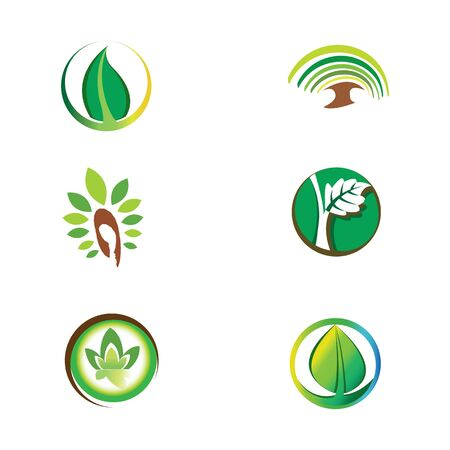 ecological icons. trees and plants in small icons. Environmental friendly logos.