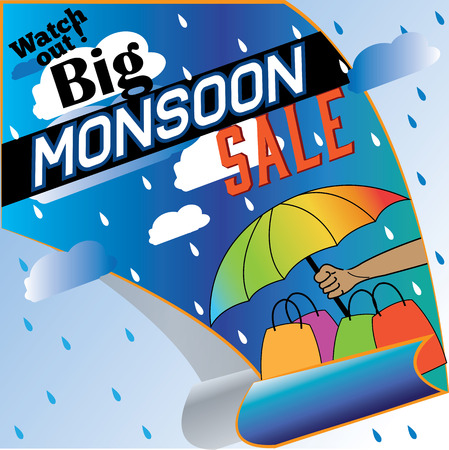 monsoon: The big monsoon sale starts. Poster ad. Loads of shopping pending.
