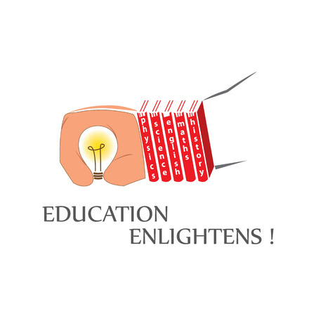 A bulb in a hand.Books following the palm certainly shows where there is education there is enlightenment.