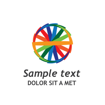 multinational: A graphic logo of a colourful wheel describing a multinational outgoing business company. Illustration